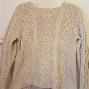 Tan sweater with suede elbow patch